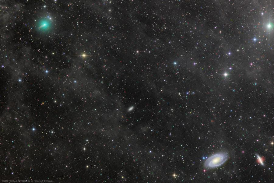Comet ATLAS and the Mighty Galaxies Copyright: Rolando Ligustri (CARA Project, CAST)